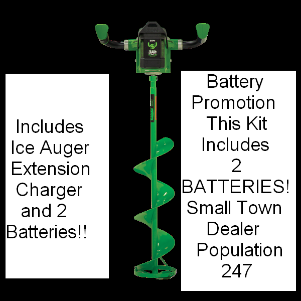 ION 33405 KIT 40 Volt ICE AUGER CORDLESS ELECTRIC LITHIUM 8 IN WITH REVERSE nuovo