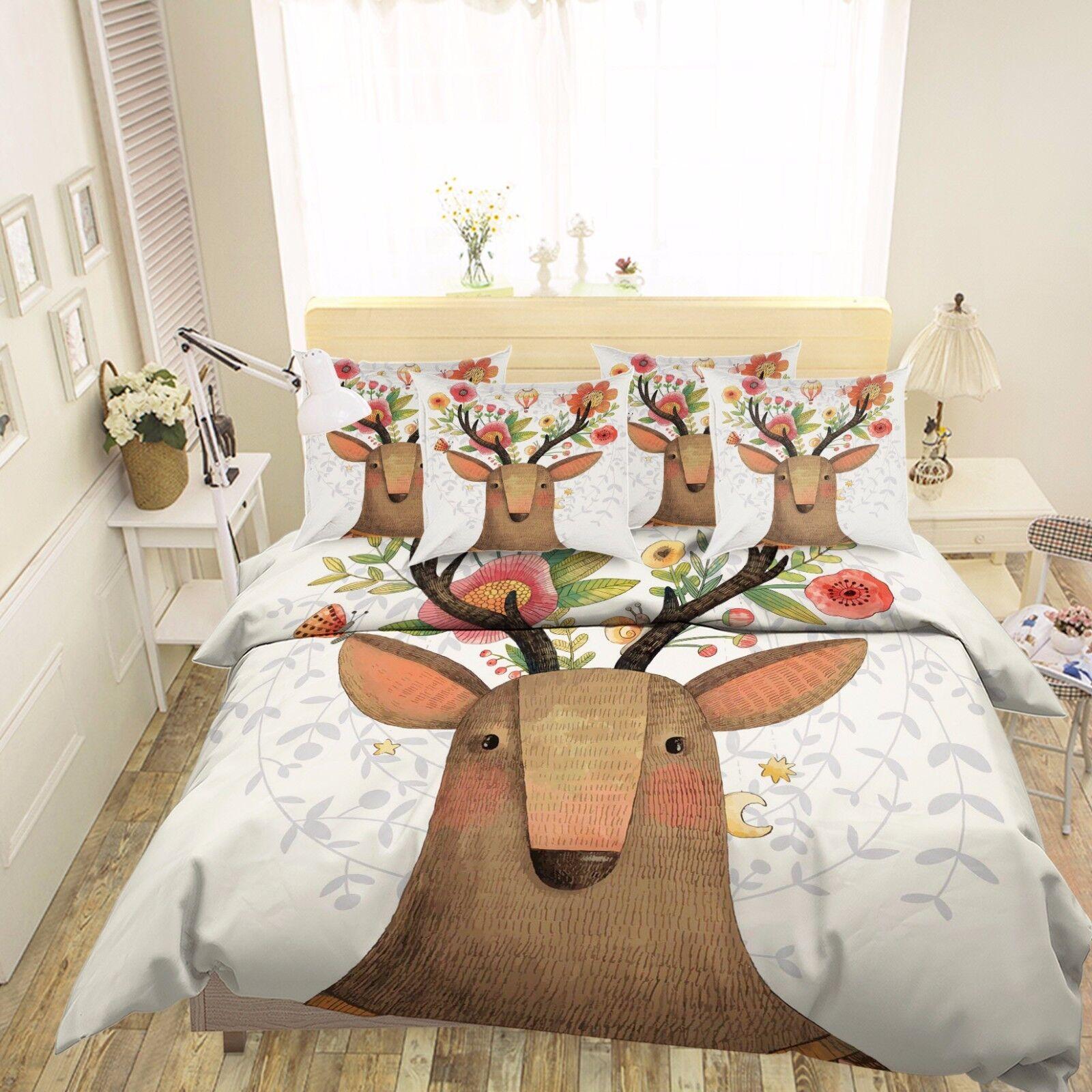 3D Flower Deer 6 Bed Pillowcases Quilt Duvet Cover Set Single Queen King AU