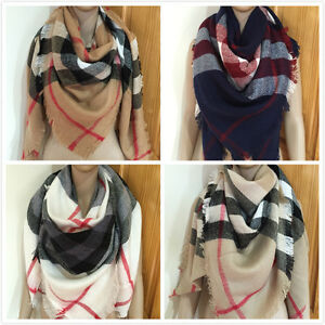 Super-Soft-Women-Plaid-Check-Oversize-Fringes-Large-Blanket-Scarf-Wrap-Pashmina