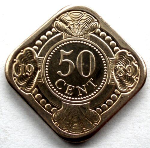 NETHERLANDS ANTILLES 50 CENTS 1989 KM#36 BU SS5.2
