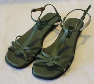 VEGAN-WARES-AUSTRALIA-Moss-Green-Faux-Leather-Flat-Sandals-Like-New-11