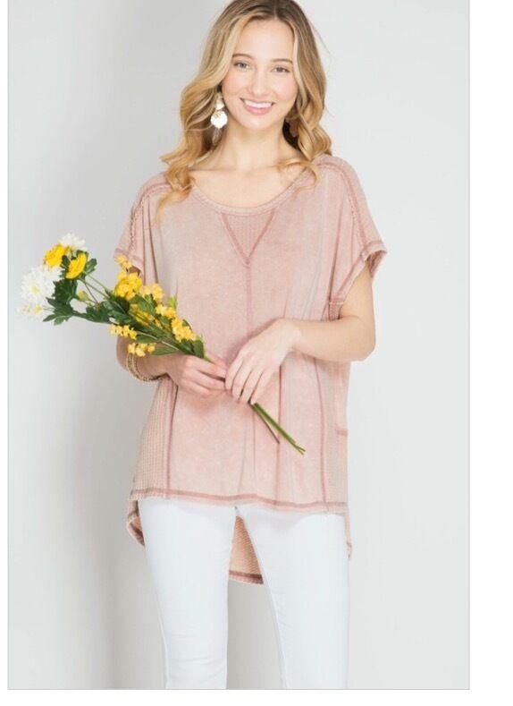 NWT Boutique Designer Trendy Light Pink Soft Garment Dye Reverse Stich HOT S M L
