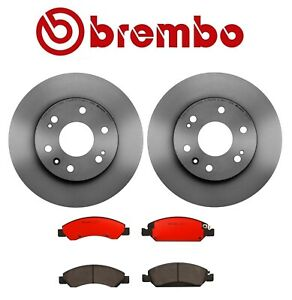 For Pair Set of 2 Front Vented Disc Brake Rotors with Disc Brake Pad Set Brembo