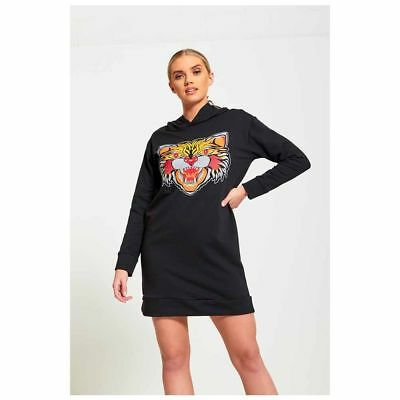 Black Tiger Hooded Jumper Dress Ladies Longline Hoodies Sweatshirt Plus  Sizes UK | eBay