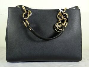 009e2cbc9078 Image is loading Michael-Michael-Kors-Cynthia-Medium-Black-Saffiano-Leather-
