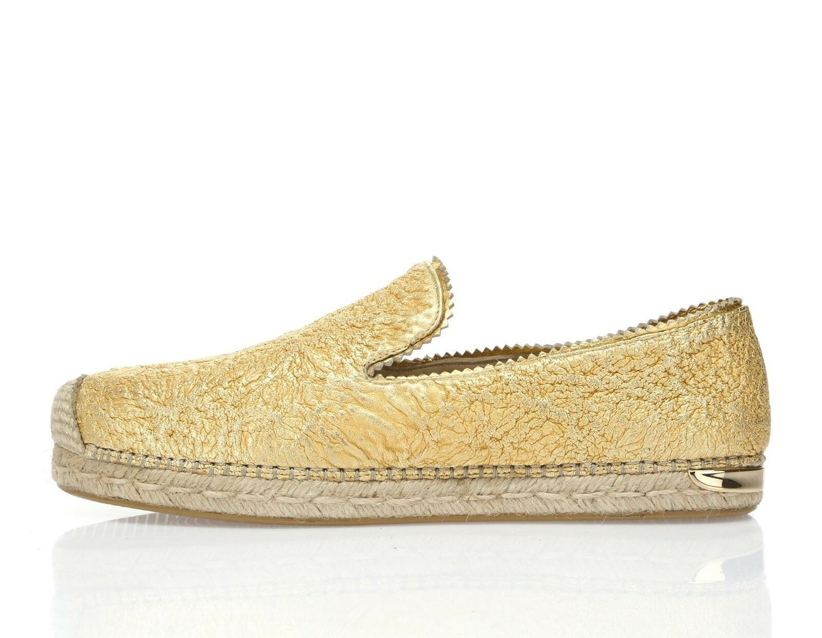 Donna Stuart Weitzman Biarritz gold pelle espadrilles sz. 10 M