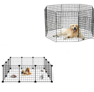 14-28in-8-12-Panels-Tall-Dog-Playpen-Large-Crate-Fence-Pet-Play-Pen-Exercise-Cag