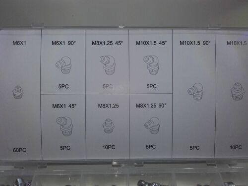 110pc Conjunto De Pezón Pistola Engrasadora ajuste de ángulo Recto Hidráulico Métrico Zerk Alemite