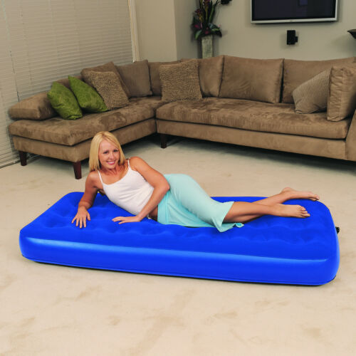 Inflatable Single Air Bed Flocked Mattress Airbed Blow Up Comfortable Camping