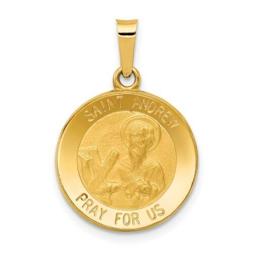 Andrew Médaille Pendentif Nouveau religieux charme or jaune 14k Poli Et Satiné St