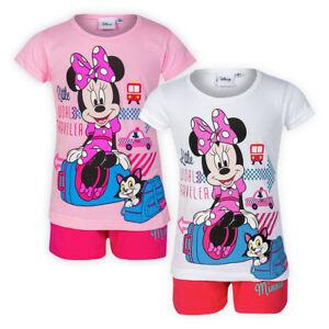 2-Piece-Girls-Disney-Minnie-Pyjama-Set-Cotton-T-shirt-Shorts-Kids-Pj-Nightwear