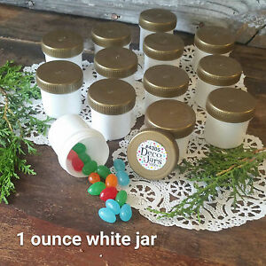 24-WHITE-Party-Favor-Plastic-Jars-GOLD-Screw-CAPS-Container-1-ounce-4305-USA