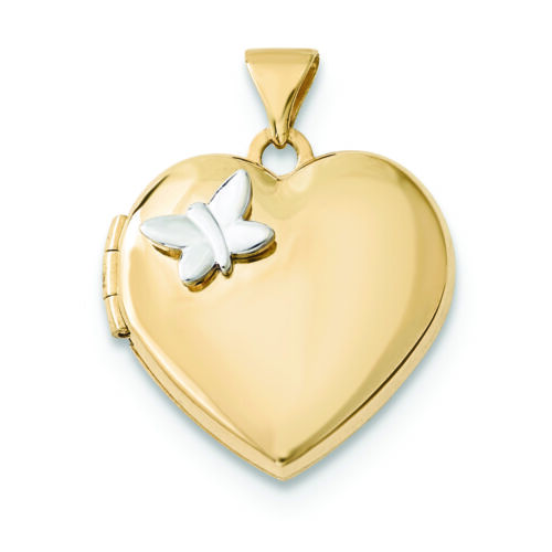 Details about  /14K White And Yellow Gold Butterfly with Heart Locket Charm Pendant MSRP $409