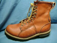 Men's Work Boots F.H. HALL LINEMEN'S SUPPLIES Sz 12 D Red Leather NWOB! 3175
