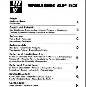welger ap52 baler parts manual pdf file spare parts list catalogue rh ebay ie Welger Baler Parts welger ap 52 manual pdf