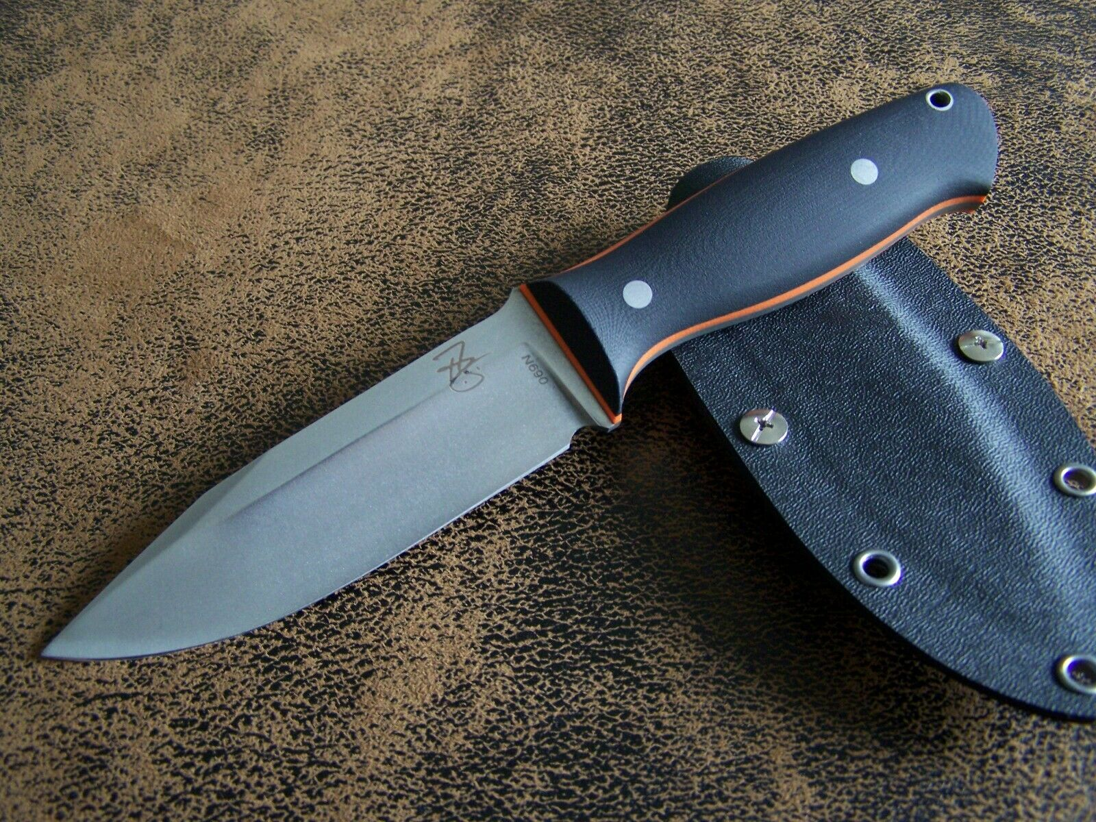 Arthur brehms BARRACUDA esclusivo SEMI CUSTOM Outdoor Coltello da caccia n690 hrc-61