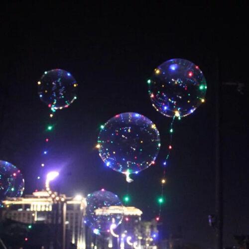 LED Light Bobo Balloon Transparent Wedding Birthday helium Party Decor Lamp//-//UK