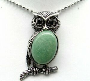Natural-aventurine-Gem-beads-animal-Owl-Retro-Silver-Pendant-necklace-Jewelry-P1