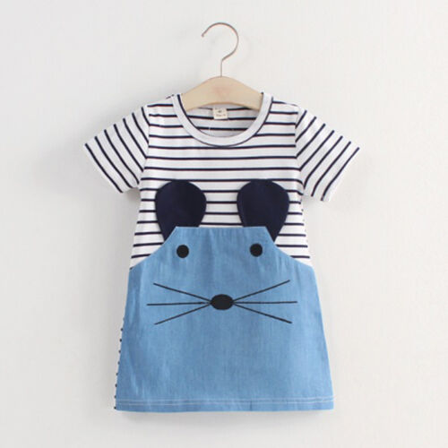 Toddler Baby Girls Striped Short Sleeve Dress Animal Print Casual Kids Clothes