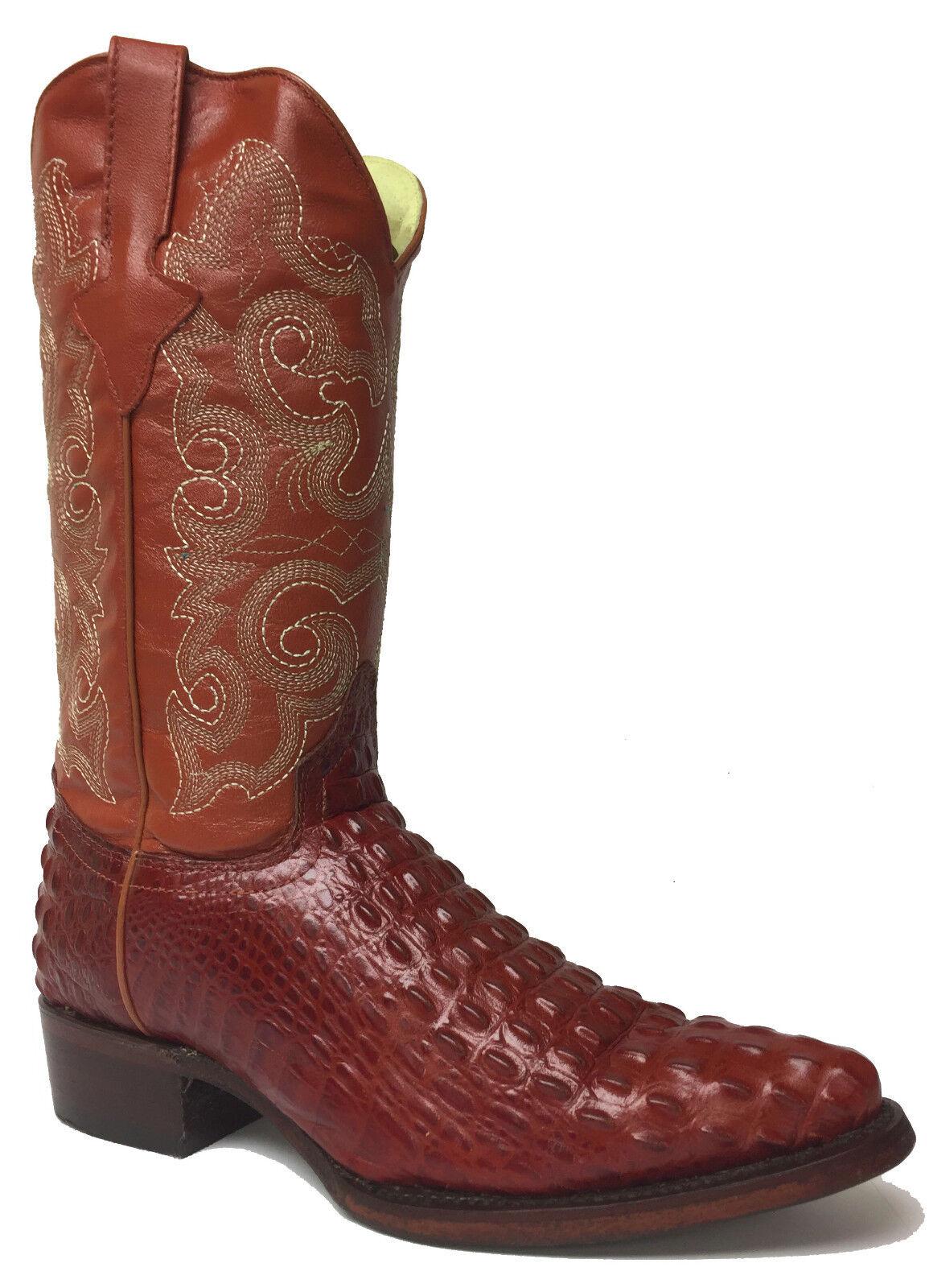 New Uomo Cognac Brown Crocodile Alligator Pelle Western Cowboy Stivali J Toe