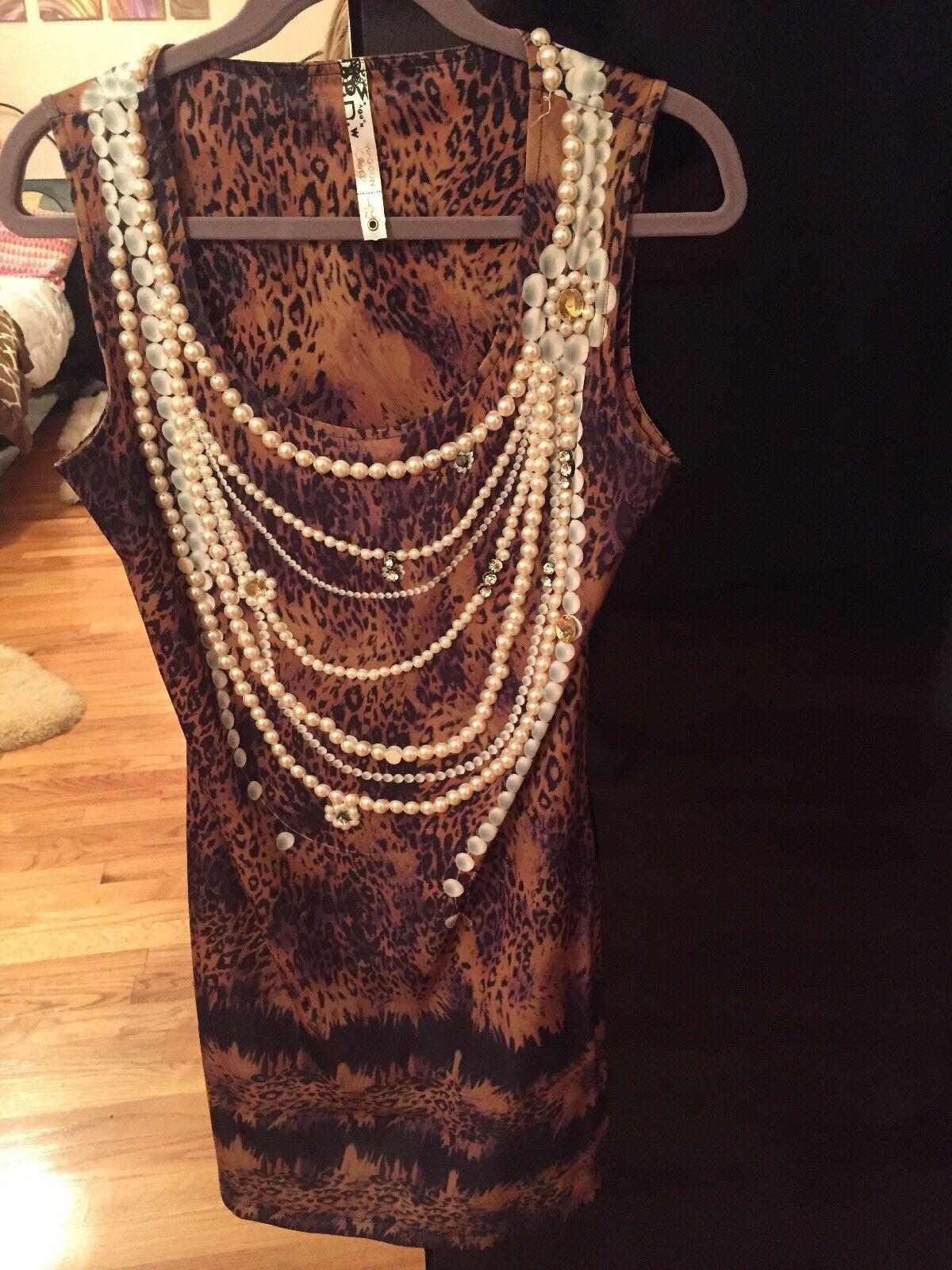 Wagon Paris Faux Pearl And Rhinestone Dress Size Large