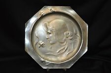 Vintage Unsigned WMF Silver Plated Dish with Art Nouveau Maiden