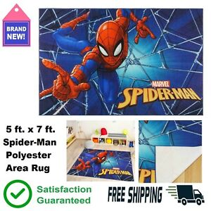 5' X 7' Kids Rugs Spider-Man Web Multi-Colored Indoor Polyester Area Mat 🧒🛌👍