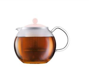 BODUM ASSAM Teebereiter Glaskanne mit Glasgriff und farbigem Deckel 1,0 l Tee