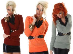 Maglia-donna-finta-camicia-maglione-maglioncino-scollo-a-V-con-cintura-nuovo
