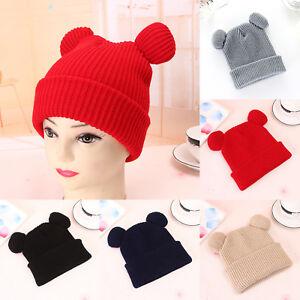 c6e8e5b9488 Winter Knitted Hat Double Cat Ears Women Girls Cute Beanie Warm Ski ...