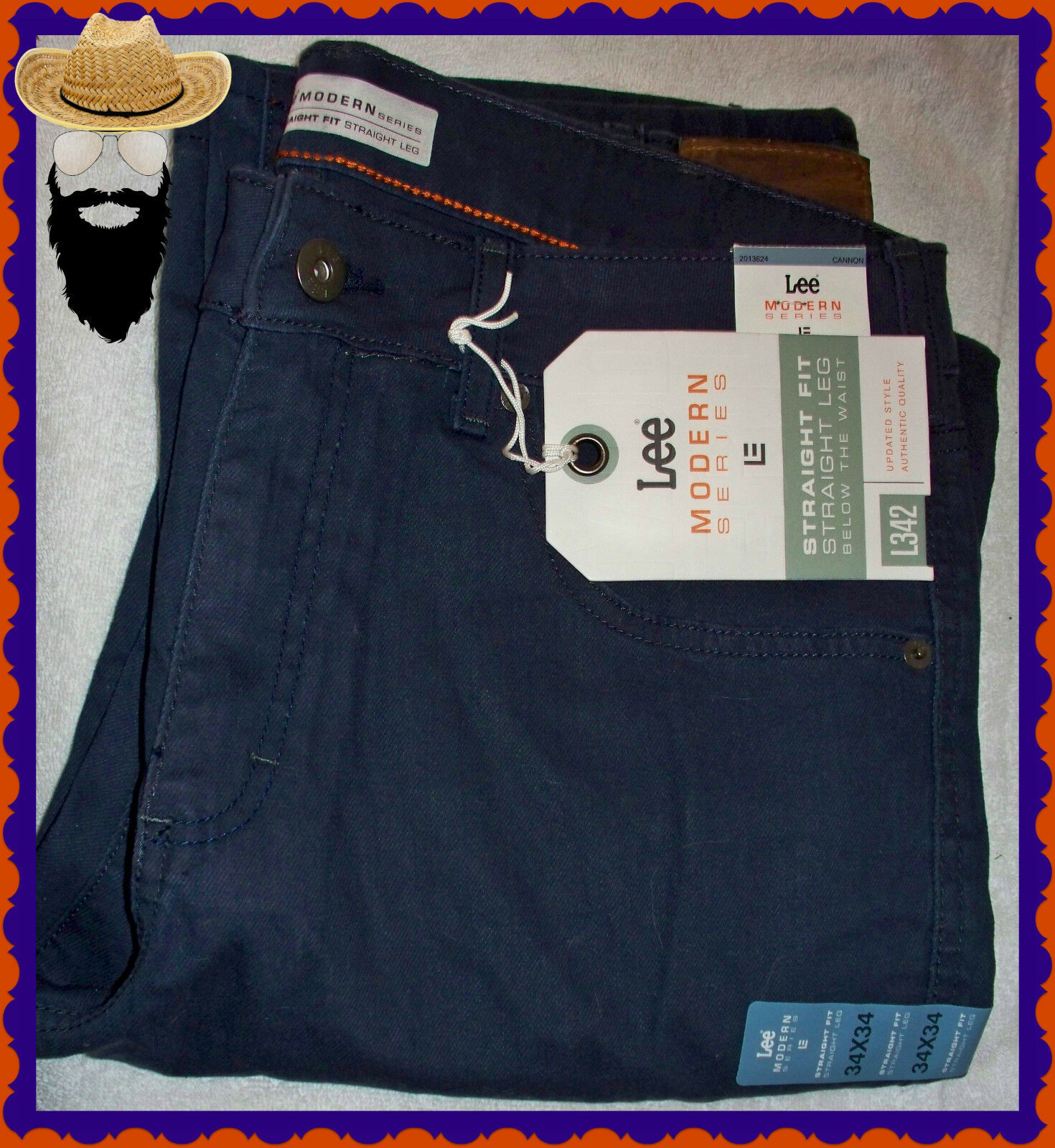 NEW  LEE 34 X 34 Navy Dress Straight Fit & Leg Flat Front Cotton Jeans Pants