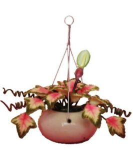 Dollhouse-Miniature-Caladium-Plant-with-Bud-in-a-Hanging-Pot-1-12-Scale
