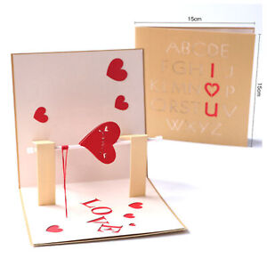 3D-Pop-Up-Greeting-Card-Handmade-Wedding-Valentine-Birthday-Heart-Rotation