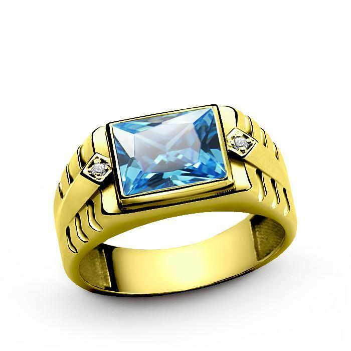 10K Solid Yellow gold Mens Ring with blueee Topaz and 2 DIAMOND Accents all sz