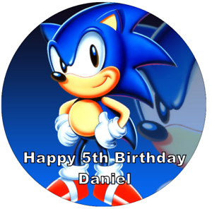"""Sonic The Hedgehog Personalised Birthday Cake Topper Edible 7.5/"""" Wafer Paper"""