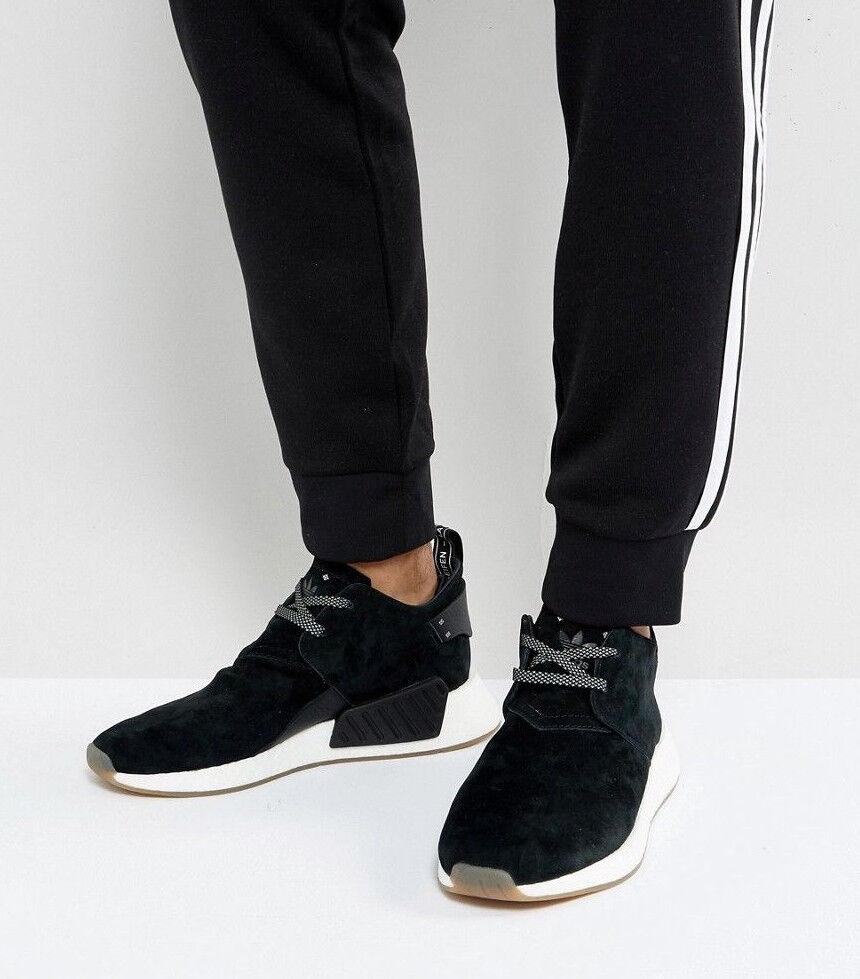 Mens ADIDAS Originals NMD C2 Suede Black Sneakers BY3011 NEW