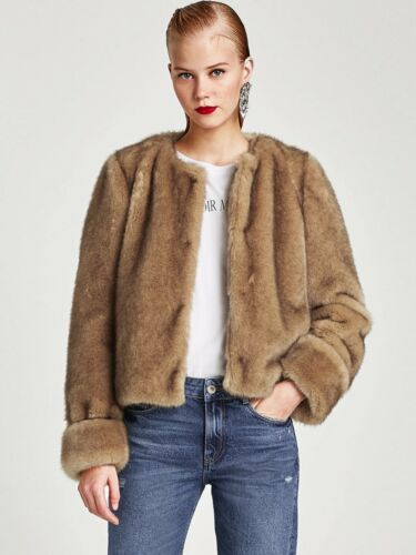 Fur Faux 12 Uk Genuine Size Zara Coat Aw17 Camel L Brown Textured AfXHWR