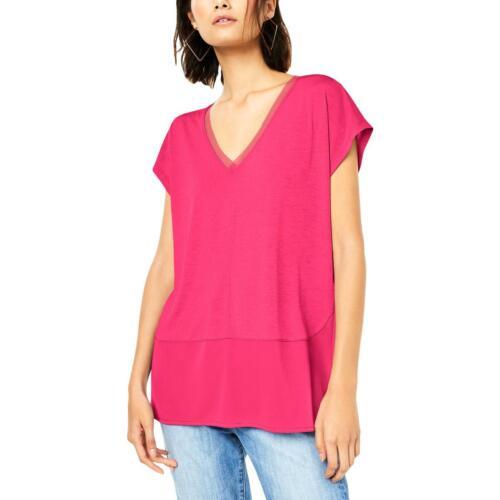 Bar III Womens Pink V-Neck Mixed Media Tee Top Shirt XXL BHFO 1374