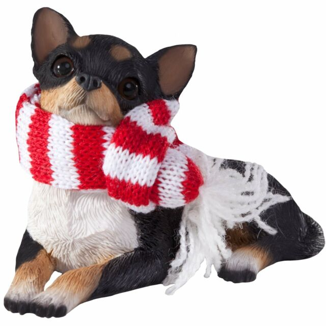 Sandicast Black Doberman Pinscher with Red and White Scarf Christmas Ornament