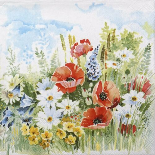4x Paper Napkins for Decoupage Decopatch Craft Summer Breeze Poppy