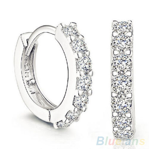 Fashion Jewelry White Topaz Gemstones Crystal Silver Plated Hoop Earrings