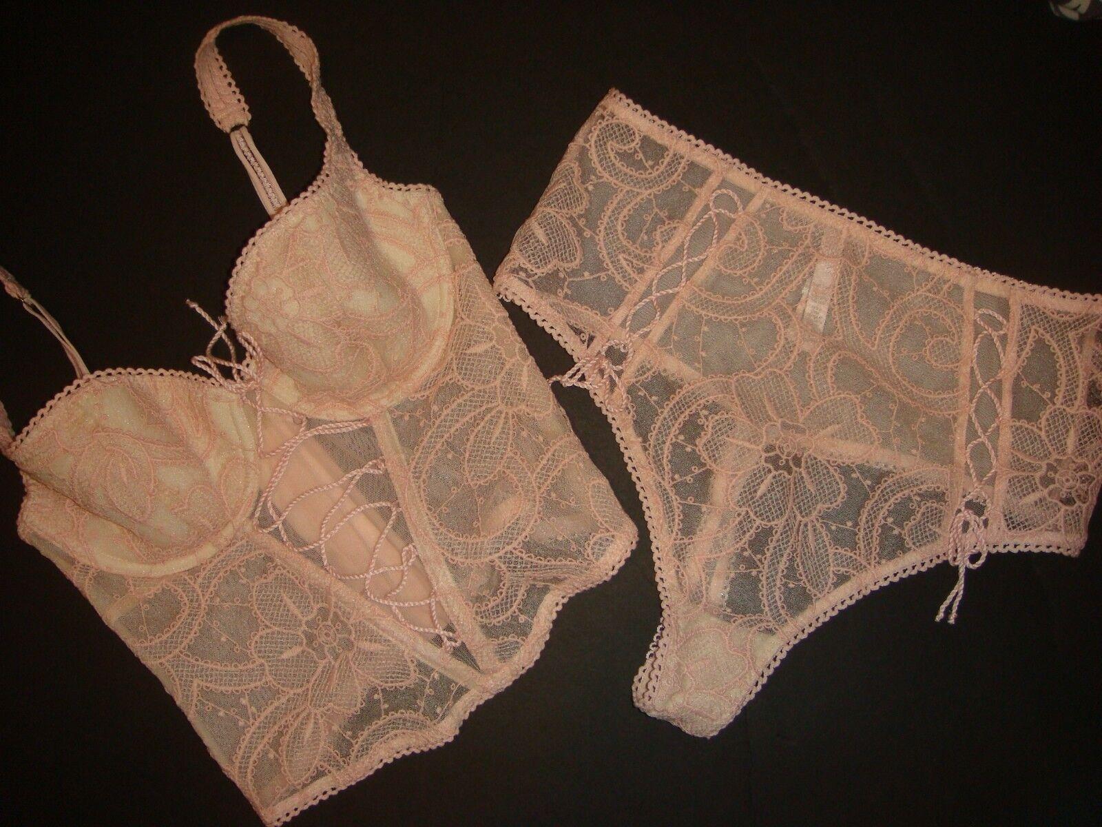 Victoria's Secret 32B,32C,34B,34C BRA bustier corset SET embroidered PINK peach