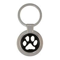 Dog Paw Print Chunky Circular Keyring canine footprint dog lover BNIB