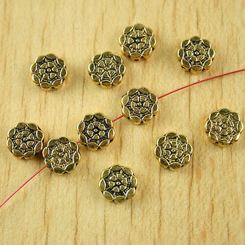 40pcs dark gold-tone flower spacer beads h1873