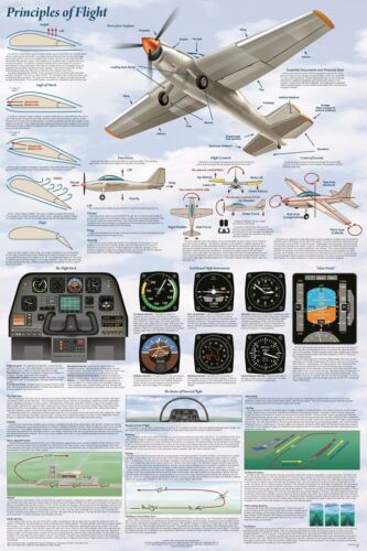 61X91CM LAMINATED POSTER PRINCIPLES OF FLIGHT EDUCATIONAL DIAGRAM AVIATION