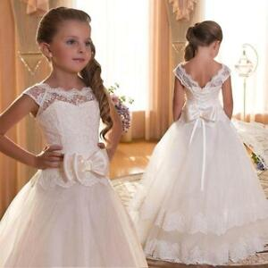 f949c46b51482 New Stylish Long Lace Gown Wedding Princess Flower Girl Dress Party ...
