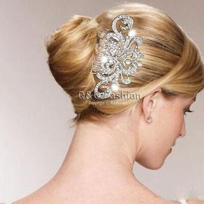 Wedding Royal Flower Zircon Crystal Silver Fascinator Hair Pin Clip Dress Comb
