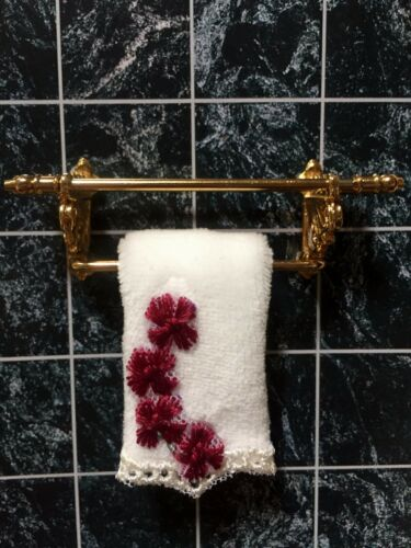 DOLLHOUSE MINIATURE  HAND-MADE WHITE   COLOR TOWEL.. ONLY 1 PCS.-----DBT016