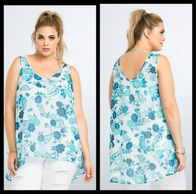 3640489c33cd34 NWT Torrid Plus Size 5 5X Blue Paisley Print Sheer Chiffon Tank Top #13-