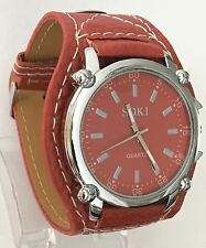 NEW large Red SOKI watch with a SILVER dial face UK SELLER
